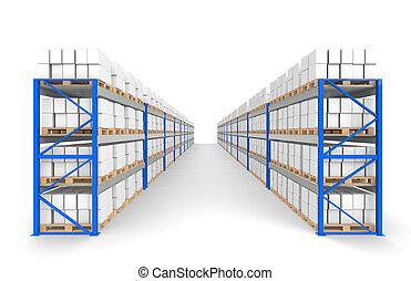 błękitny, logisty, pozbywa się, seria, podłoga, shadows., magazyn, 2, część, rows.