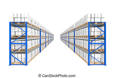 błękitny, logisty, series., pozbywa się, część, magazyn, 2, rows.