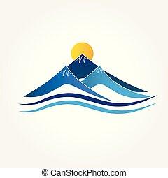 błękitny, logo, góry
