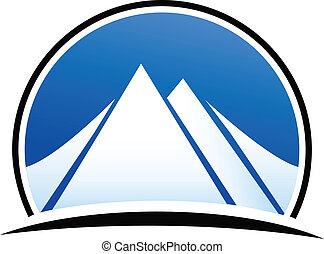 błękitny, logo, wektor, góry