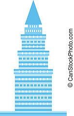 błękitny, logo, wieża, wizerunek
