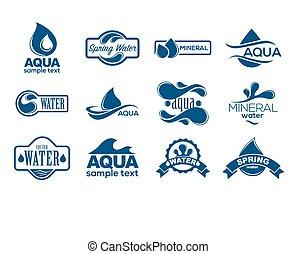 błękitny, logos, minerał, ikony, collection., set., aqua, etykieta, water.