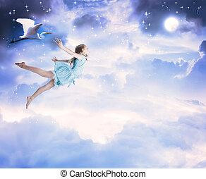 błękitny, mały, przelotny, niebo, dziewczyna nocy