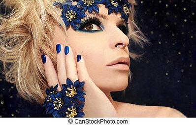błękitny, makijaż, luksusowy, manicure