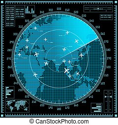 błękitny, mapa, ekran, radar, samoloty, świat