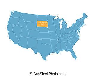 błękitny, mapa, stany zjednoczony, wektor, wskazanie, dakota, południe