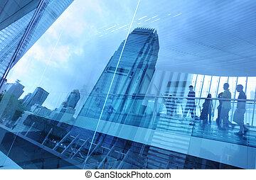 błękitny, miasto, tło, szkło