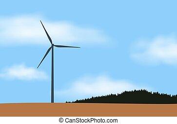 błękitny, moc, okolica, niebo, chmury, ilustracja, jeden, pole, wektor, las, pod, stacja, biały, wiatrak, wiatr