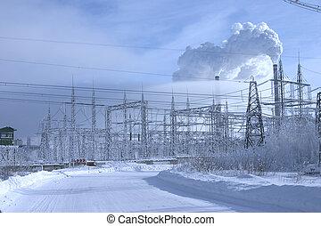 błękitny, moc, snowdrifts, niebo, potężny, środowisko, stacja, tło, costing