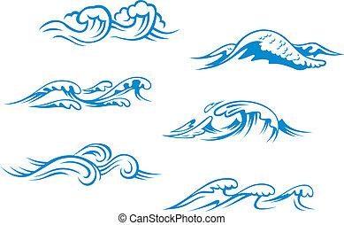 błękitny, morze, fale