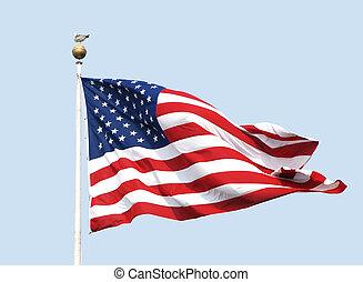 błękitny, muchy, nonchalantly, stoi, jasny, mewa, sky., -, pasy, przeciw, słoneczny, bandera, proszek, gwiazdy, flagpole., amerykanka, dzień