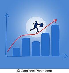 błękitny, nachylenie, cień, ilustracja, vector., finansowy, czerwony, jeżdżenie skateboard, wykres, tło, biznesmen