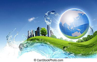 błękitny, natura, niebo, przeciw, planeta, zielony, czysty