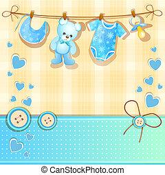 błękitny, niemowlę przelotny deszcz, karta