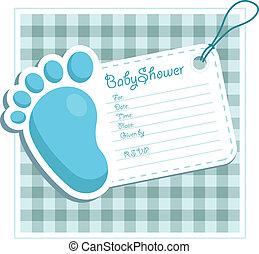 błękitny, niemowlę przelotny deszcz, zaproszenie
