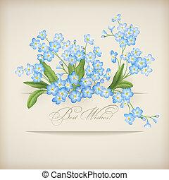 błękitny, niezapominajka, wiosna, powitanie, kwiaty, karta