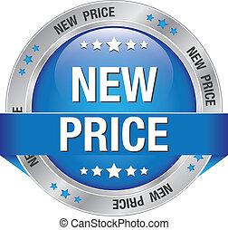 błękitny, nowy, cena, srebro, guzik