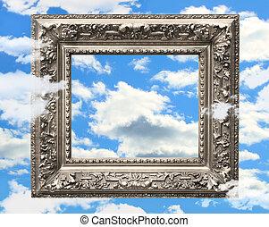 błękitny, obraz budowa, niebo, przeciw, srebro
