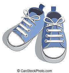 błękitny, obuwie