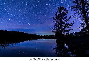 błękitny, odbicie, niebo, jezioro, noc, wzdłuż