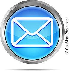 błękitny, odizolowany, ikona, poczta, biały
