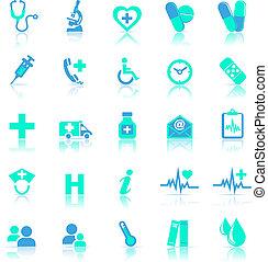 błękitny, odzwierciedlać, troska, zdrowie, ikony