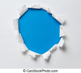 błękitny, otwór, porwany papier, tło