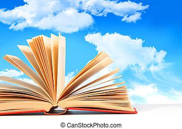 błękitny, otwarta książka, niebo, przeciw