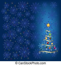 błękitny, ozdoba, drzewo, płatki śniegu, boże narodzenie