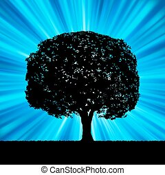błękitny, pękać, drzewo, eps, 8, template.