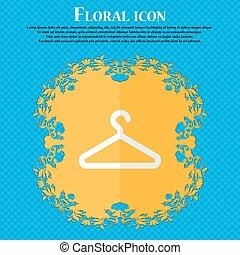 błękitny, płaski, hanger., abstrakcyjny, text., wektor, projektować, tło, kwiatowy, miejsce, twój, odzież