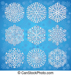 błękitny, płatki śniegu, tło