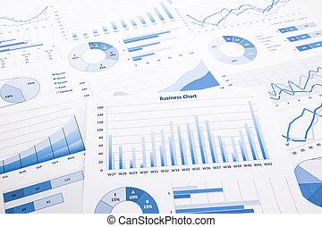 błękitny, paperwork, handlowy, wykresy, wykresy, informuje