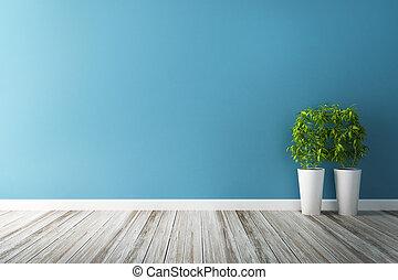 błękitny, parcela, kwiat, ściana, wewnętrzny, biały