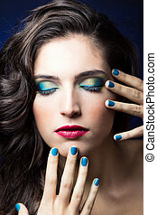 błękitny, piękno, paznokcie, usteczka, sexy, dziewczyna, czerwony