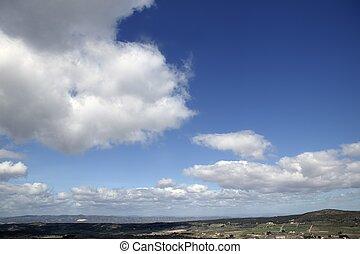 błękitny, piękny, chmury, natura, słoneczny, niebo, dzień, biały, prospekt