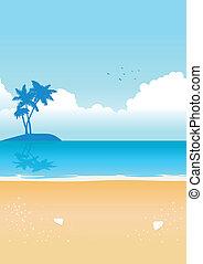 błękitny, plaża