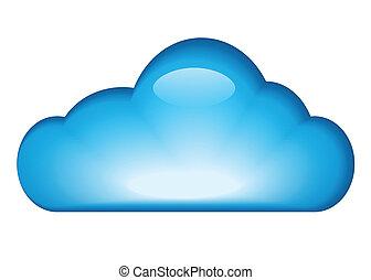 błękitny, połyskujący, chmura