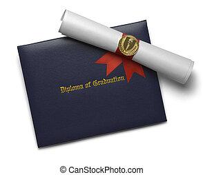 błękitny, pochodnia, osłona, dyplom