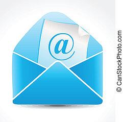 błękitny, poczta, abstrakcyjny, ikona