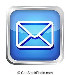 błękitny, poczta, biały, odizolowany, ikona