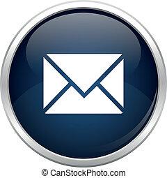 błękitny, poczta, ikona
