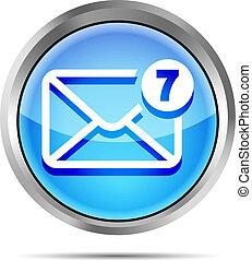 błękitny, poczta, unread, wiadomości, ikona