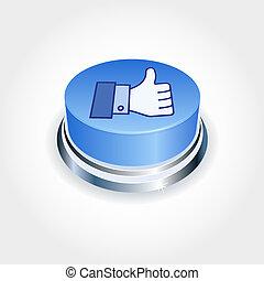 błękitny, podobny, media, concept., do góry, towarzyski, perspective., guzik, kciuk