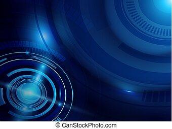 błękitny, pojęcie, abstrakcyjny, cześć tech, tło, palcowa technologia