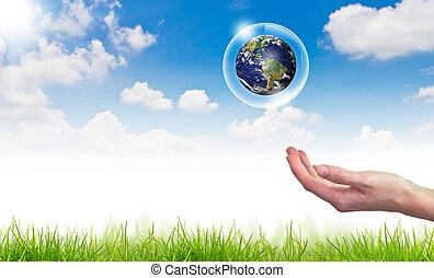 błękitny, pojęcie, eco, słońce, kula, niebo, przeciw, ręka, :, bańki, utrzymywać