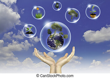 błękitny, pojęcie, eco, słońce, niebo, przeciw, ręka, kwiat, :, ziemia, bańki, utrzymywać