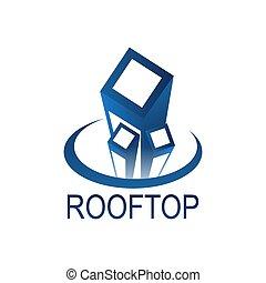 błękitny, pojęcie, kolor, górny, dach, projektować, szablon, logo