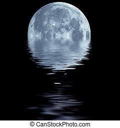 błękitny polewają, na, księżyc