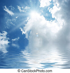 błękitny polewają, niebo